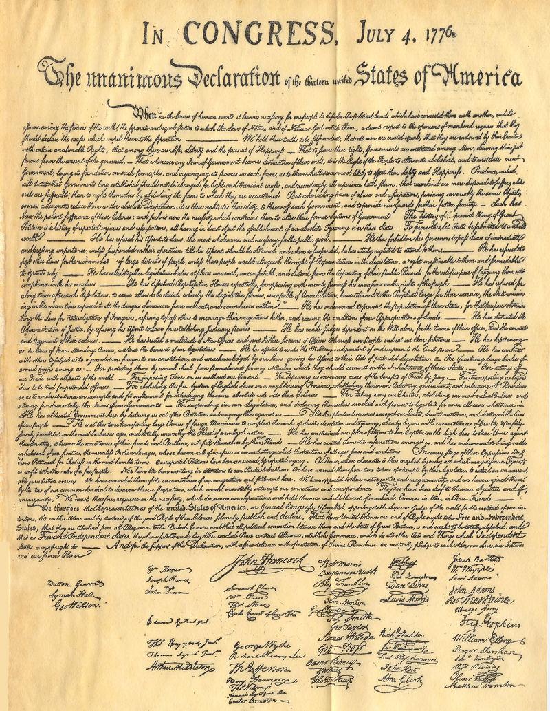 La dichiarazione di indipendenza degli stati uniti d'america e